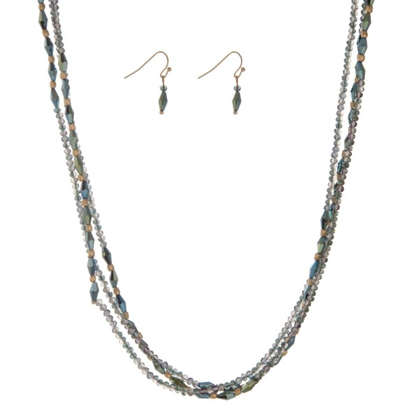 """Iridescent green beaded wrap necklace set. Approximately 60"""" in length."""