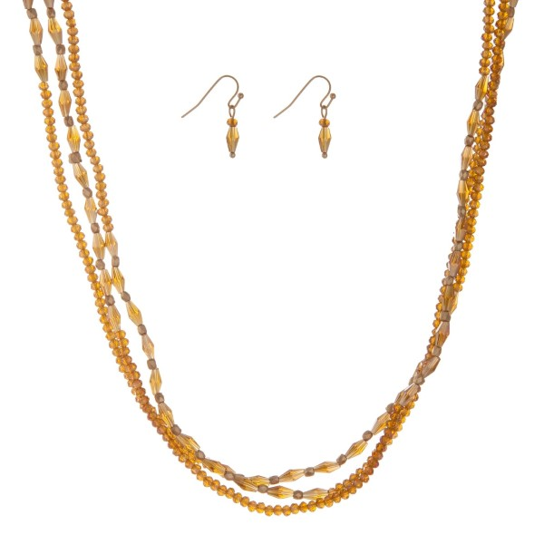 """Topaz beaded wrap necklace set. Approximately 60"""" in length."""