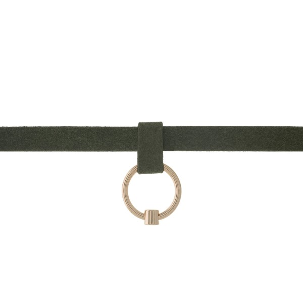 """Olive green faux suede choker with a gold tone circle pendant. Approximately 12"""" in length."""