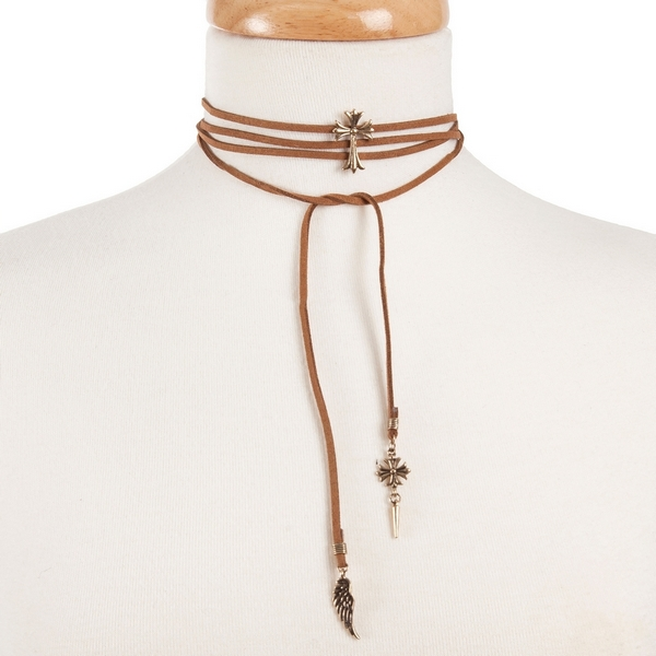 """Tan faux suede wrap choker necklace with a gold tone cross focal. Approximately 52"""" in length."""