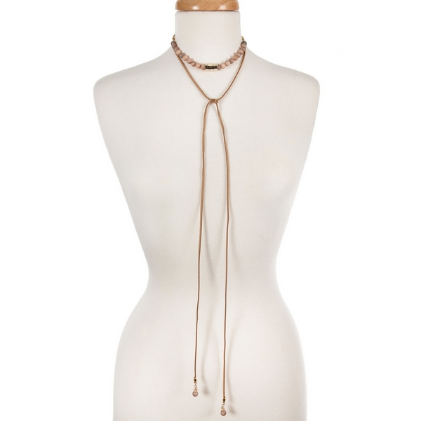 """Tan cord wrap choker necklace with peach druzy natural stone beads and a hammered gold tone bar. Necklace can be adjusted up to 36"""" in length. Handmade in the USA."""