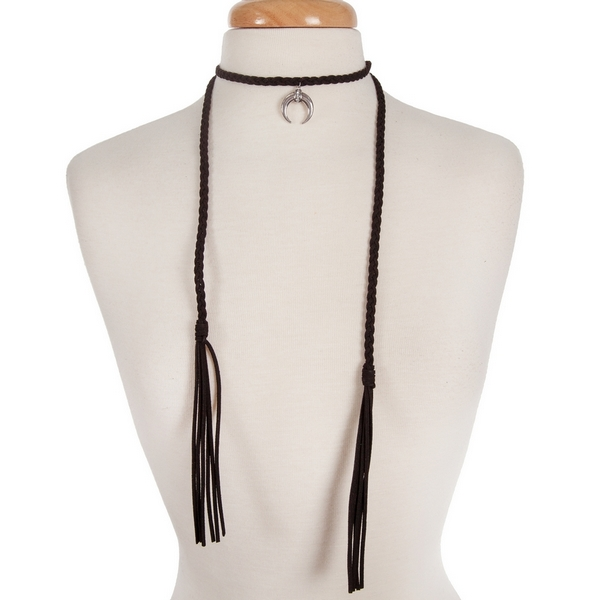 """Black braided suede wrap choker necklace with a silver tone crescent pendant. Approximately 13"""" in length."""