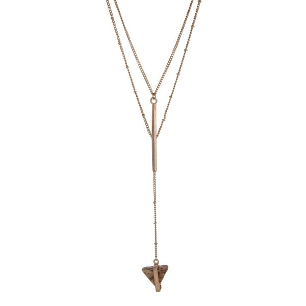 Wholesale gold double layer Y necklace picture japer natural stone triangle pend