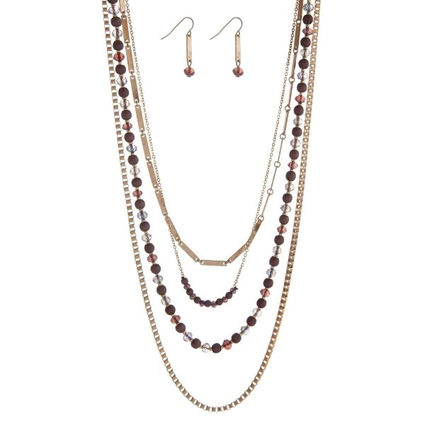 """Gold tone multi layer necklace set with gray and purple beads and matching fishhook earrings. Approximately 27"""" in length"""