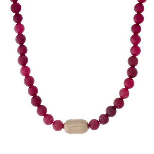 """Burgundy beaded necklace with a hammered gold tone nugget. Approximately 16"""" in length."""
