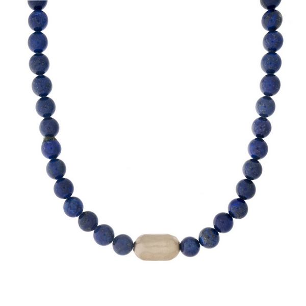 "Lapis beaded necklace with a hammered gold tone nugget. Approximately 16"" in length."