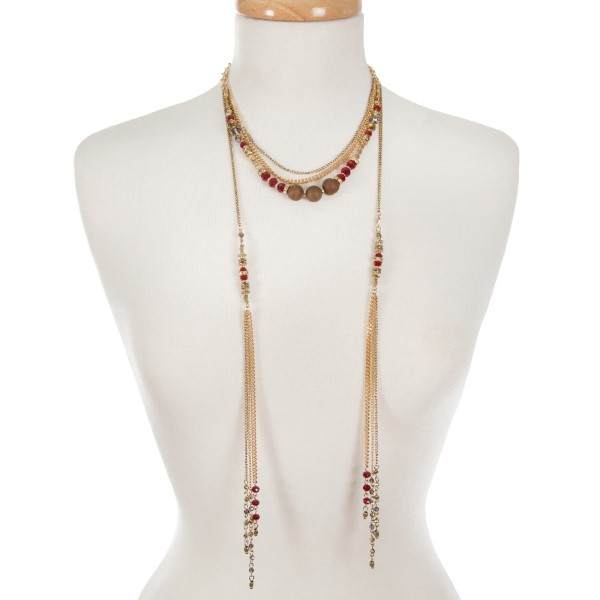 """Gold tone multi layer necklace with bronze and burgundy beads. Approximately 16"""" in length."""