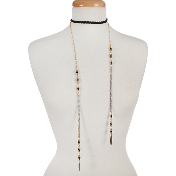 """Two tone double layer choker with a braided black suede and black bead accents. Approximately 12"""" in length."""