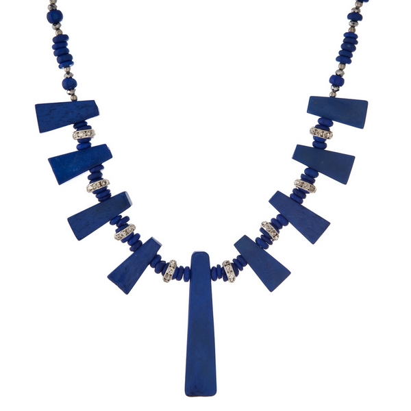 "Royal blue beaded necklace with lapis stones and silver tone accents. Approximately 16"" in length."