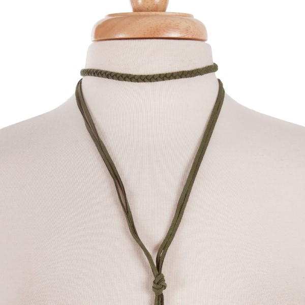 """Olive green suede wrap necklace with a braided choker and long tassel. Approximately 14"""" in length."""