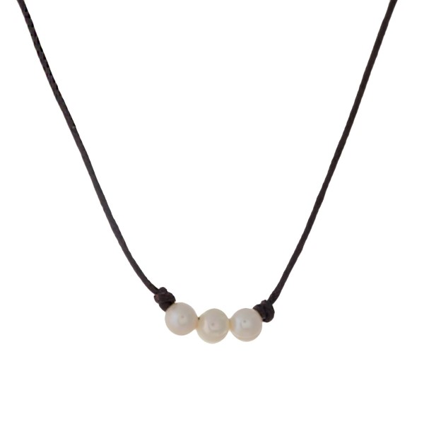 Wholesale brown waxed cord necklace three cream freshwater pearl bead details pe