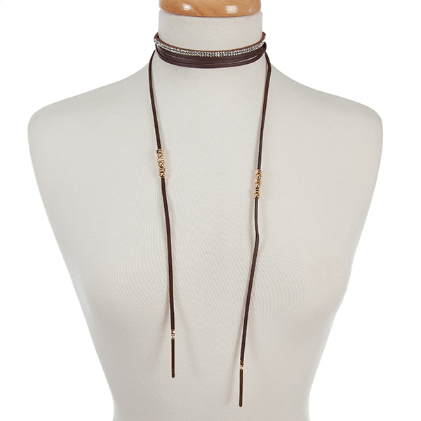 """Dark brown faux suede two piece choker set with a clear rhinestone and a wrap necklace. Choker is approximately 12"""" in length and wrap necklace is 72"""" in length."""