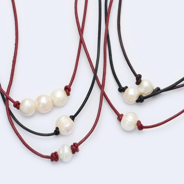 "Wax Cord Three Pearl Necklace.  - Pearl's 8mm - Pearl Pull Through Closure - Approximately 16"" in Length"