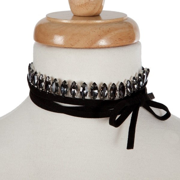 """Black suede wrap necklace with a silver tone choker displaying gray rhinestones. Approximately 70"""" in length."""