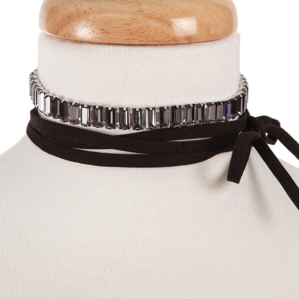 """Black faux suede wrap choker necklace with black rectangle rhinestones. Approximately 80"""" in length."""