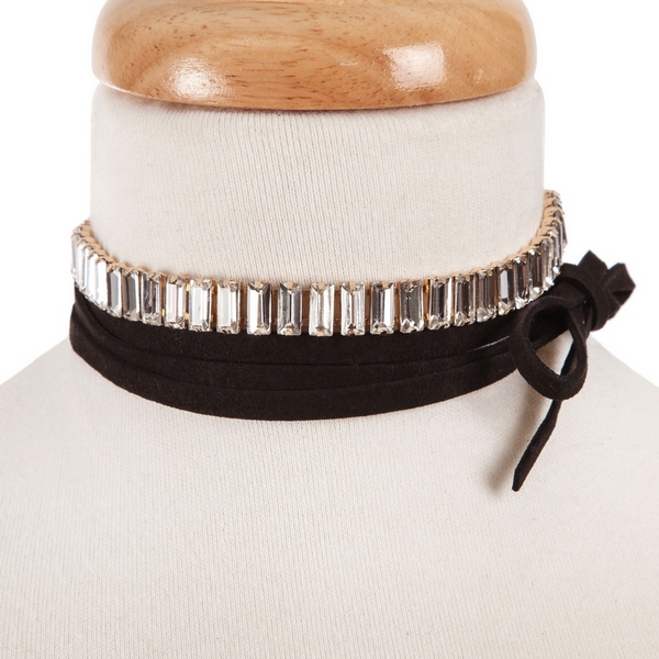 """Black faux suede wrap choker necklace with clear rectangle rhinestones. Approximately 80"""" in length."""
