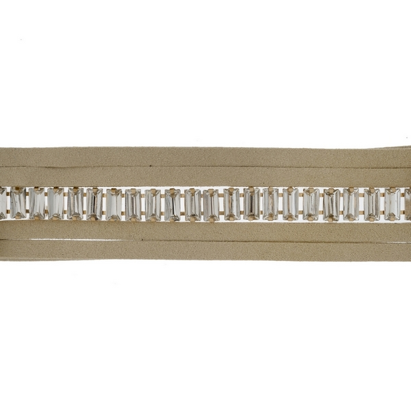 "Tan faux suede wrap choker necklace with clear rectangle rhinestones. Approximately 80"" in length."
