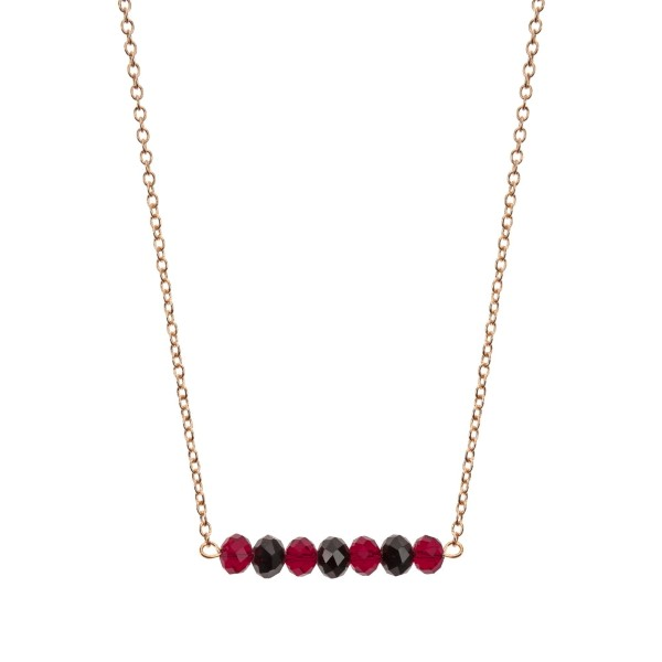 """Gold tone beaded bar necklace with maroon and black faceted beads. Approximately 16"""" in length."""
