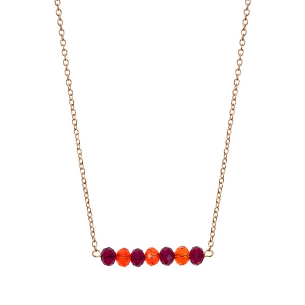 """Gold tone beaded bar necklace with maroon and orange faceted beads. Approximately 16"""" in length."""