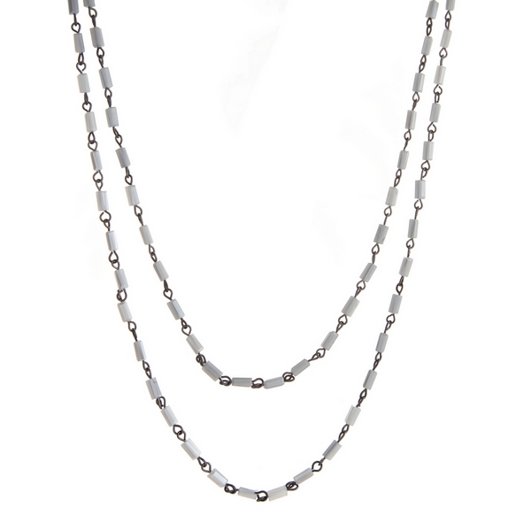"""Hematite tone wrap necklace with gray faceted rectangle beads. Approximately 60"""" in length."""