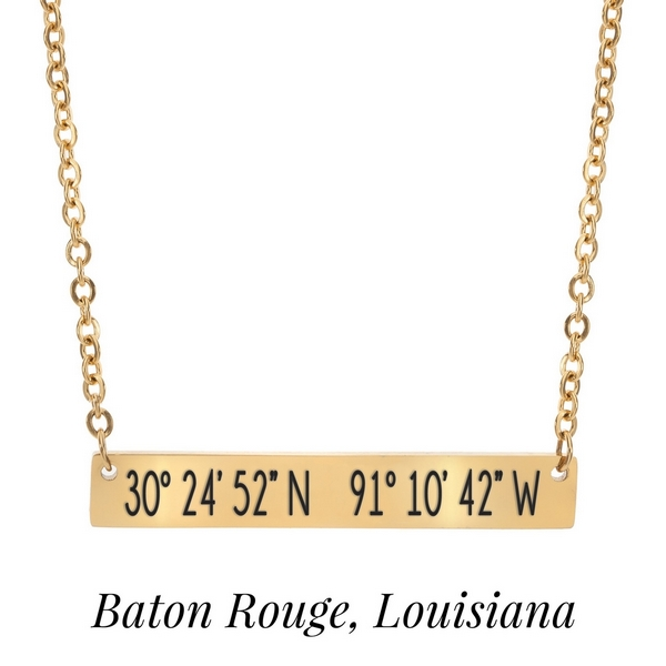 Wholesale gold necklace bar pendant stamped coordinates Baton Rouge Louisiana