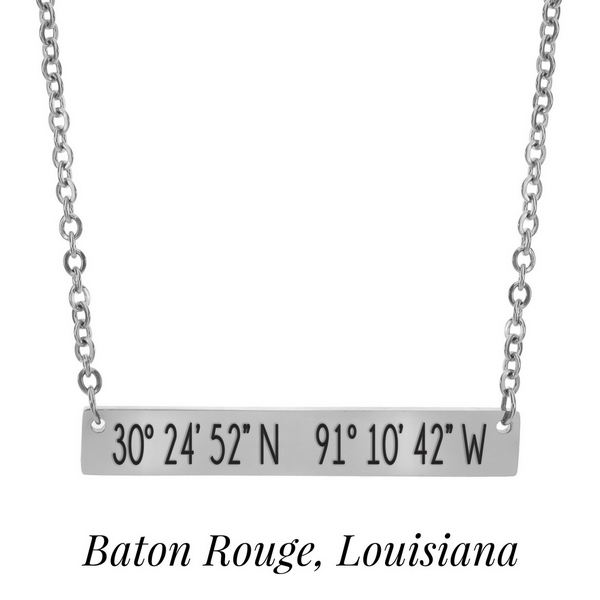 Wholesale silver necklace bar pendant stamped coordinates Baton Rouge Louisiana