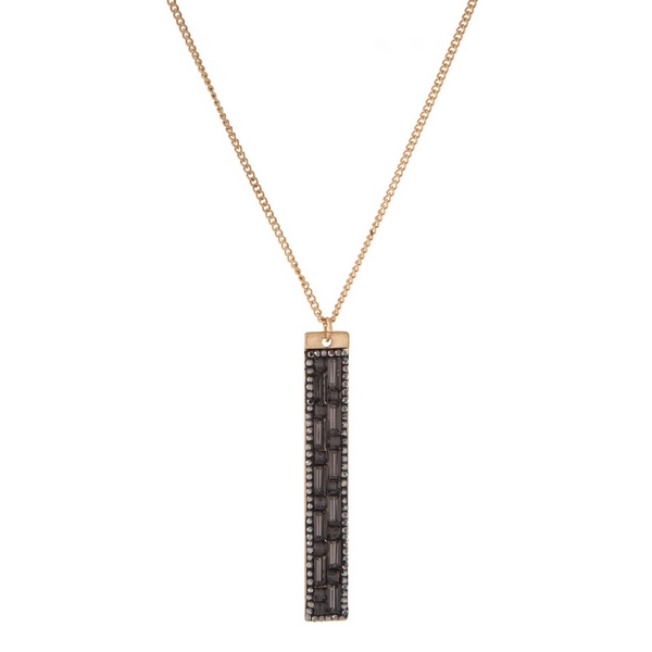 """Gold tone necklace with a gray rhinestone beaded rectangle pendant. Approximately 32"""" in length."""
