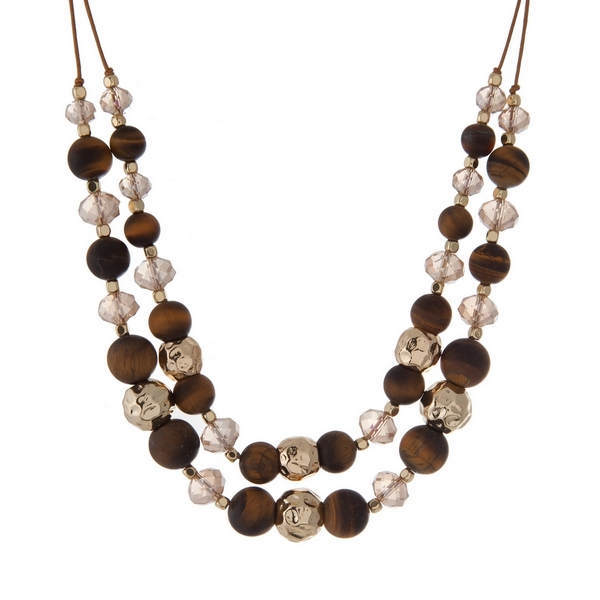 """Brown cord necklace with gold tone, topaz faceted, and tiger's eye natural stone beads. Approximately 16"""" in length. Handmade in the USA."""