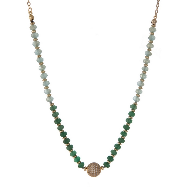 """Gold tone necklace with mint green and jade faceted, glass beads and a pave rhinestone focal. Approximately 16"""" in length. Handmade in the USA."""