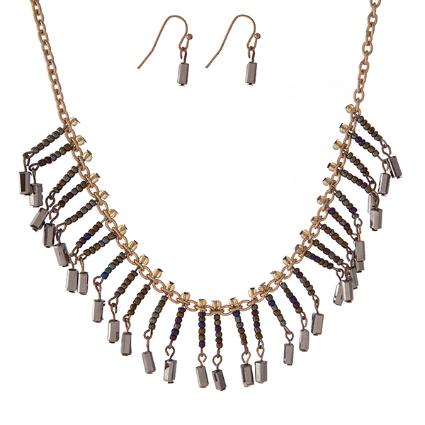 """Gold tone necklace set with iridescent and hematite beaded fringe. Approximately 16"""" in length."""