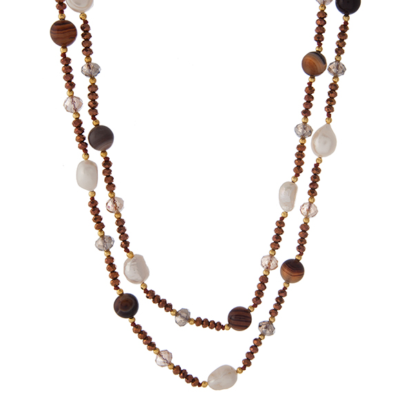 """Gold tone and bronze beaded necklace with freshwater pearls and brown agate natural stones. Approximately 48"""" in length. Handmade in the USA."""