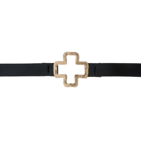 Wholesale black faux leather choker hammered gold cross pendant