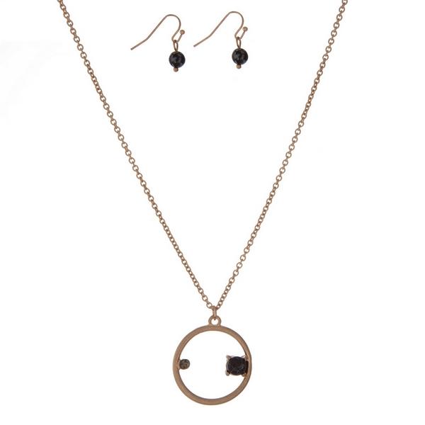 Wholesale dainty gold necklace set circle pendant rhinestone black stone