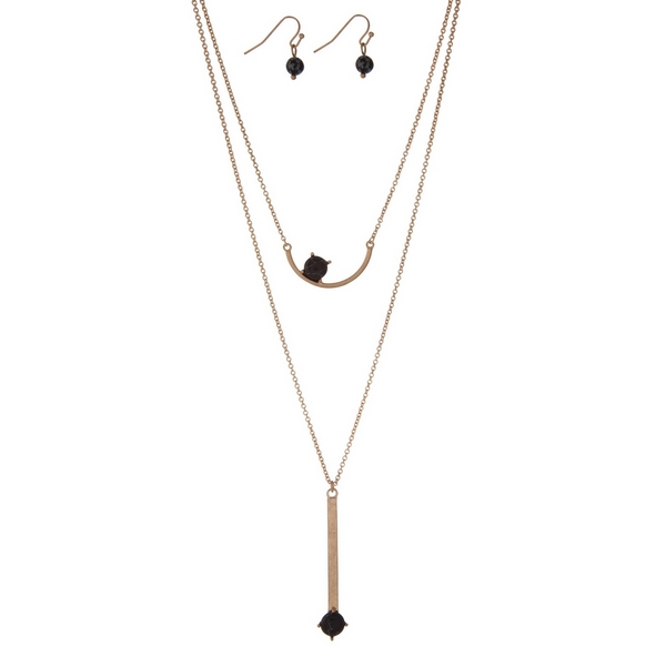 Wholesale dainty gold necklace set two black stone pendants matching fishhook ea