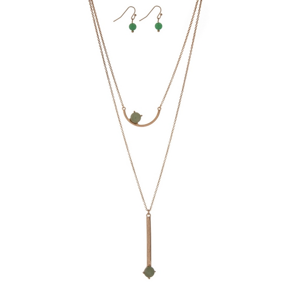 """Dainty gold tone necklace set with two green stone pendants and matching fishhook earrings. Approximately 16"""" in length."""