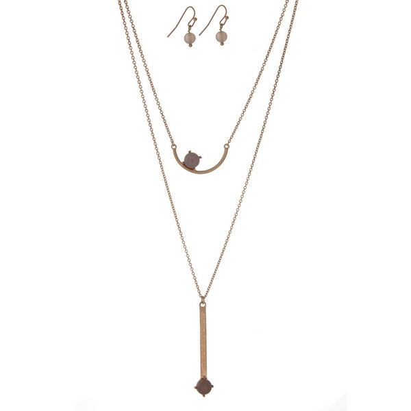 """Dainty gold tone necklace set with two gray stone pendants and matching fishhook earrings. Approximately 16"""" in length."""