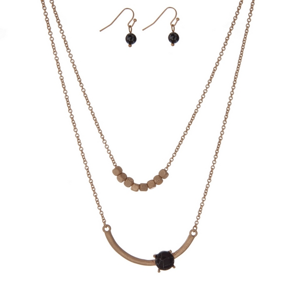 Wholesale dainty gold double layer necklace set black stone gold square beads