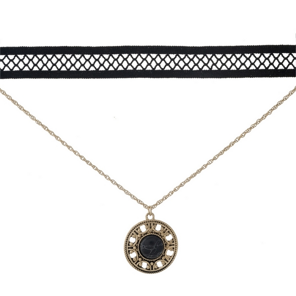 """Black and gold tone, double layer choker with a circle pendant, accented by a black stone. Approximately 12"""" in length."""