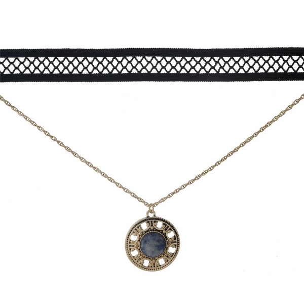 "Black and gold tone, double layer choker with a circle pendant, accented by a blue stone. Approximately 12"" in length."