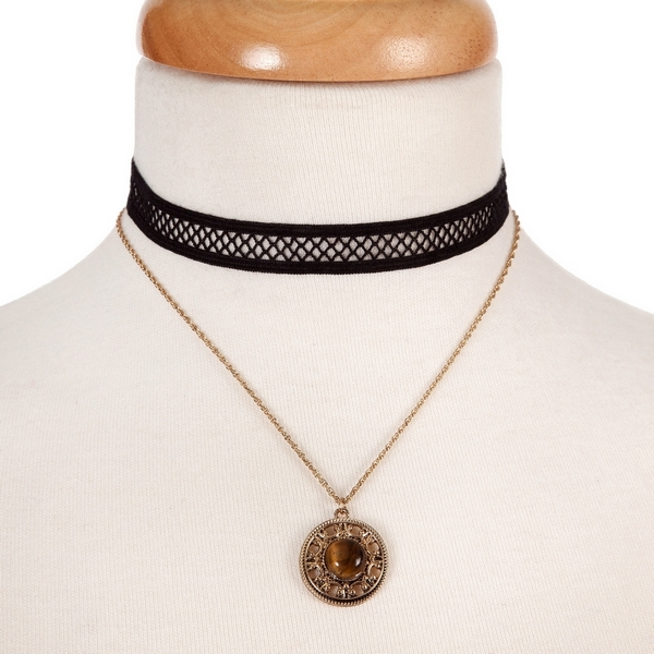 """Black and gold tone, double layer choker with a circle pendant, accented by a brown stone. Approximately 12"""" in length."""