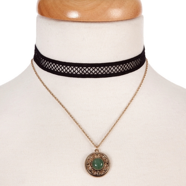"""Black and gold tone, double layer choker with a circle pendant, accented by a green stone. Approximately 12"""" in length."""