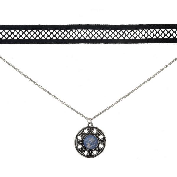 Wholesale black silver double layer choker circle pendant opal stone