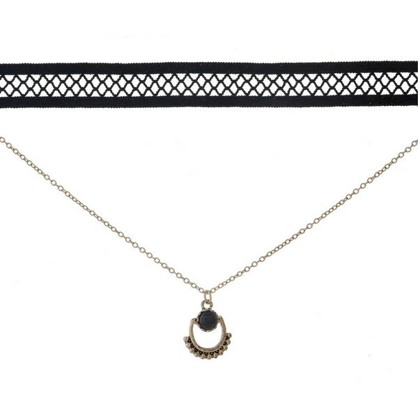 Wholesale black gold double layer choker black stone pendant