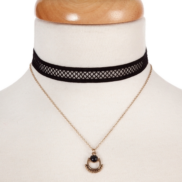 """Black and gold tone, double layer choker with a black stone pendant. Approximately 12"""" in length."""