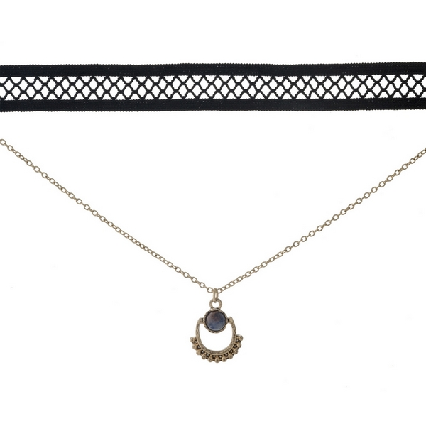 "Black and gold tone, double layer choker with a blue stone pendant. Approximately 12"" in length."