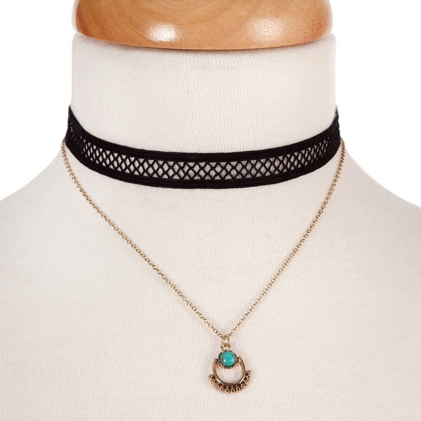 "Black and gold tone, double layer choker with a turquoise stone pendant. Approximately 12"" in length."
