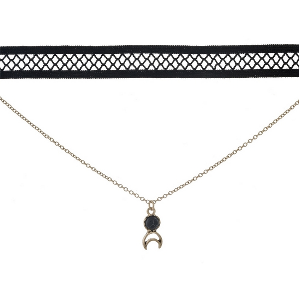 """Black and gold tone, double layer choker with a crescent cut out pendant, accented by a black stone. Approximately 12"""" in length."""