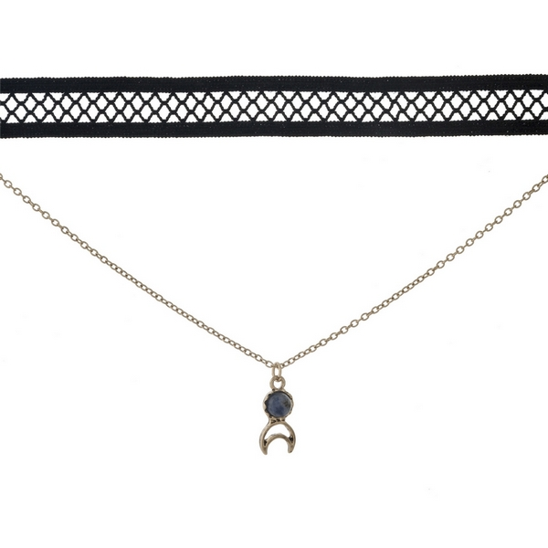 "Black and gold tone, double layer choker with a crescent cut out pendant, accented by a blue stone. Approximately 12"" in length."