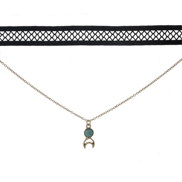 "Black and gold tone, double layer choker with a crescent cut out pendant, accented by a turquoise stone. Approximately 12"" in length."