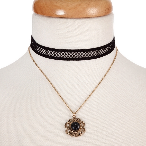 """Black and gold tone, double layer choker with a flower pendant, accented by a black stone. Approximately 12"""" in length."""